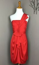 BCBG Max Azria Red Satin One Shoulder Draped Dress 8