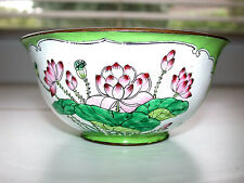 Beautiful Antique Chinese Canton Famille Rose Enameled Floral Brass Rice Bowl