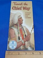 1965 Santa Fe Railway Brochure Travel the Chief Way Indian VTG Map Chicago Texas