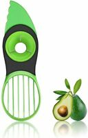 3 in 1 Fruit & Avocado Cutter Pitter Tool Slicer Peeler Scoop Slices Green Knife