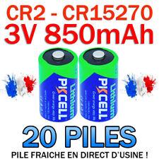 LOT DE 20 PILES ACCU BATTERIE CR2 LITHIUM (CR15270) 3V 850mAh PKCELL CR2 CR-2