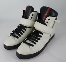 PRADA MEN'S SHOES HIGH TOP LEATHER TRAINERS SNEAKERS NEW NAPPA SPORT BLACK 7BD