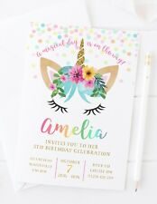 10 PERSONALISED UNICORN RAINBOW INVITATIONS OR THANK YOU CARDS - BIRTHDAY PARTY
