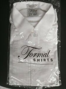 Tuxedo Shirt CLASSIC Fit White Formal LAYDOWN Collar long sleeve New
