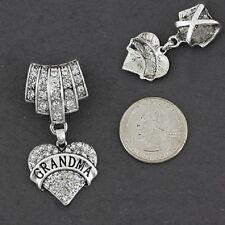 SCARF CHARM Grandma Grandmother Heart Love Necklace Pendant Silver WEDDING