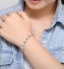 Fashion Charming Beads Silver Plated Cuff Bracelet Bangle Womens Jewelry Gift