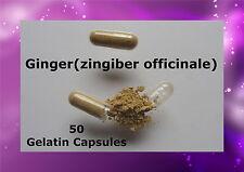 Ginger (zingiber officinale) 50 Gelatin Caps Pills Capsules Herbal Natural Pure