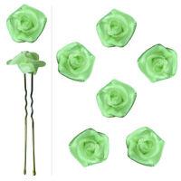 6 épingles pics cheveux chignon mariage mariée danse fleur satin vert très clair
