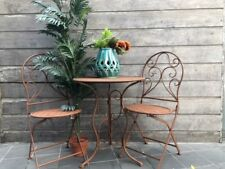Mia 3 Piece Patio Setting Metal Garden Furniture Outdoor Home Deco Antique Rust