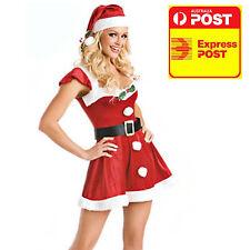 Christmas Santa Mrs Claus Helper Ladies Costume Dress + Hat