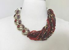 Gorgeous Multi Strand Faceted Red Beads, Rhinestone & Pearl Vintage Necklace