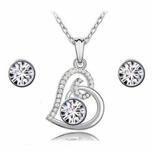 Crystal Jewelry Elements Silver Heart Shaped Neckless With Earrings Diamond