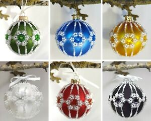 Beaded Christmas Tree Decoration Baubles, Handmade Xmas Tree Baubles Decoration