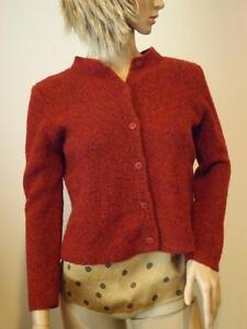 Eileen Fisher Red Merino Wool Cardigan Sweater Petite Medium EXC