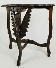 Antique Walnut Wood Demilune Table With Carved Swan Spanish Revival Victorian