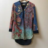 Soft Surroundings XS Boho Agra Tunic Top Paisley Floral Print Popover Blouse