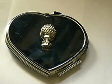 Golfball On Tee TG10 Fine Pewter on Heart Shape Compact Mirror