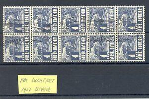 DUTCH INDIES-INDONESIA 1937 AVIATION 1 Ct. BLOCK OF 10 --SLOGAN UIVER PLANE -@6