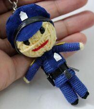 Policeman Voodoo Doll Keychain Keyring Handmade String Craft Blue Rope Toy Gift