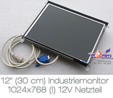 "30.5cm 12"" DISPLAY 1024x768 INDUSTRYMONITOR 12V POWERSUPPLY AUCH KFZ BOOT M70 MM"