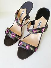 Authentic Manolo Blahnik Shoes Embroiled  Gray Satin Heels (Size 38.5