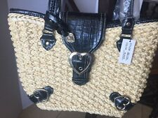 Straw with Black ~ Handbag Purse Tote Bag with Heart Buckle NEW!!!!