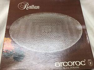 "ARCOROC J.G. DURAND RATTAN ROUND 13"" CRYSTAL GLASS PLATTER WEAVED TEXTURED SURFA"