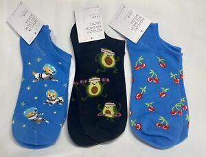 3 Pair - Novelty No-Show Socks Size 9-11, Astronaut Corgi, Avocardio, Cherry