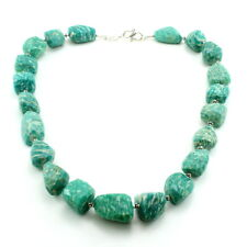 Necklace natural green amazonite gemstone jewelry 925 solid sterling silver