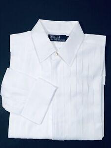 Polo Ralph Lauren Formal  Men's White Tuxedo Pleated Shirt 15.5 -34 EUC