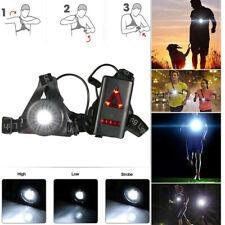 Outdoor Running Lights LED Night Running Flashlight USB Charge Chest Lamp Black