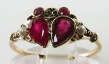 DIVINE 9CT 9K GOLD INDIAN RUBY & PEARL CANCER CRAB VINTAGE INSP RING FREE SIZE