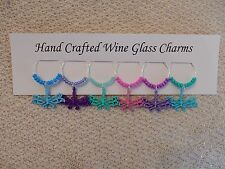 """""""DRAGONFLIES'' SET OF 6  HAND CRAFTED wine glass drink markers"""