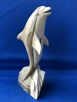 Two Tone Wood Wooden Carved Upright Dolphin Natural Grain Colouring