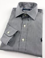 Ralph Lauren Dress Shirt Men's Grey Dobby Stripe Spread Collar Regular Fit