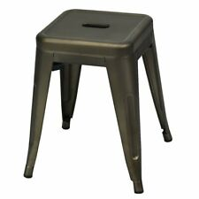 """18"""" Height Set of 4 Stackable Backless Industrial Metal Stools"""
