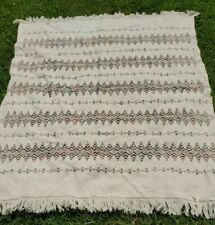 """Tapestry Throw Blanket 47""""X59"""" Ivory w/ blue gray green burgundy tan one sided"""