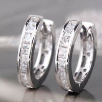 Chic NEW STERLING SILVER PLATED CZ SMALL ROUND HUGGIE HOOP EARRINGS YA