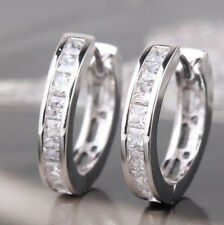 Chic NEW STERLING SILVER PLATED CZ SMALL ROUND HUGGIE HOOP EARRINGS EOAU