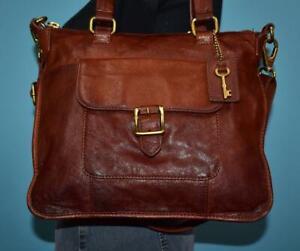 FOSSIL BECCA SATCHEL Brown Leather Crossbody Tote Shoulder Zip-Top Purse Bag