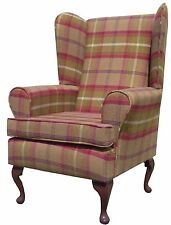 FIRESIDE WING BACK QUEEN ANNE CHAIR SUPERIOR  LUXURY BROWN/OLIVE TARTAN FABRIC