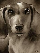 Miniature Dachshund Art Print Sepia Watercolor Painting by Artist Djr