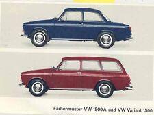 1966 Volkswagen 1500 Variant Paint Upholstery Brochure wb9928-8TYS9M