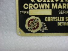 Chrysler Crown Marine Engine Data Plate Etched Brass - COLOR Logo