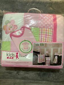 kidsline Mosaic Garden 6 pc crib bedding set pink floral polka dot new
