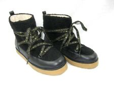 House Of Harlow Ankle Boot Sz 8.5 Black Sadie Bootie Leather Faux Fur Shearling