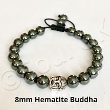 HEMATITE & Buddha Mala bracelet Mens Ladies gemstone healing Base Root Chakra