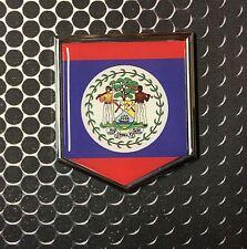 "Belize Flag Domed CHROME Emblem Proud Flag Car 3D Sticker 2""x 2.25"" Belmopan"