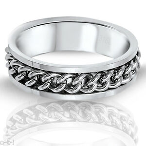 Stainless Steel Silver Italian curb Chain Ring - Sizes 7 - 14 (Unisex)