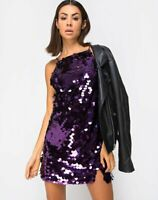 MOTEL ROCKS Corine Slip Dress in Plum Disc Sequin Size Small S  (mr96)